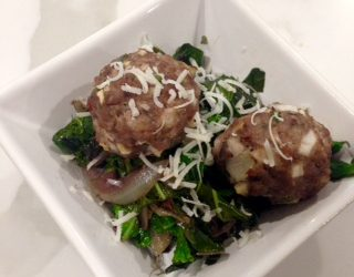 Fresh Fennel and Red Wine Meatballs with Sautéed Kale and Sweet Onions