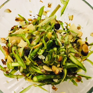 Raw Almond Lemon Asparagus Salad